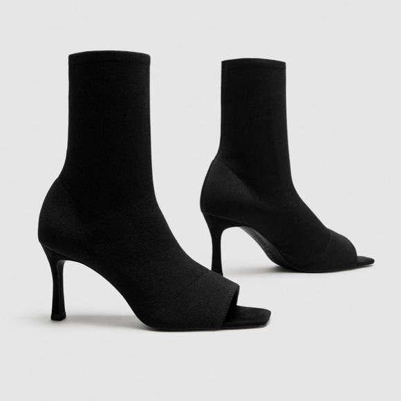 14bd0f9a997f Zara Open Toe High Heel Ankle Boots Size 37  US 7.  M 5a9ded83d39ca29926cdaae6